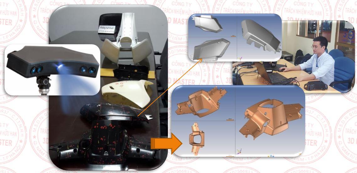 Thiết kế ngược và in 3D các mẫu chi tiết nhựa trên xe máy