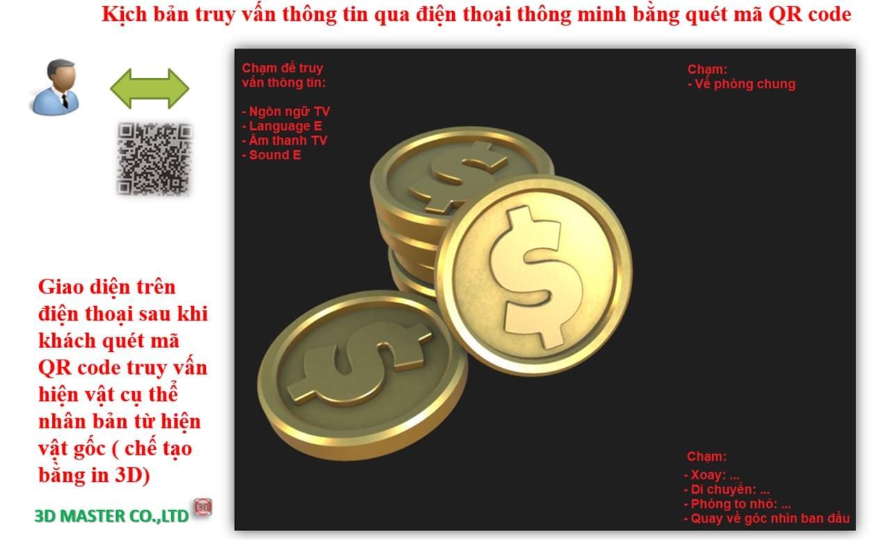 Kịch bản truy vấn thông tin qua website 3D bằng quét mã QR code