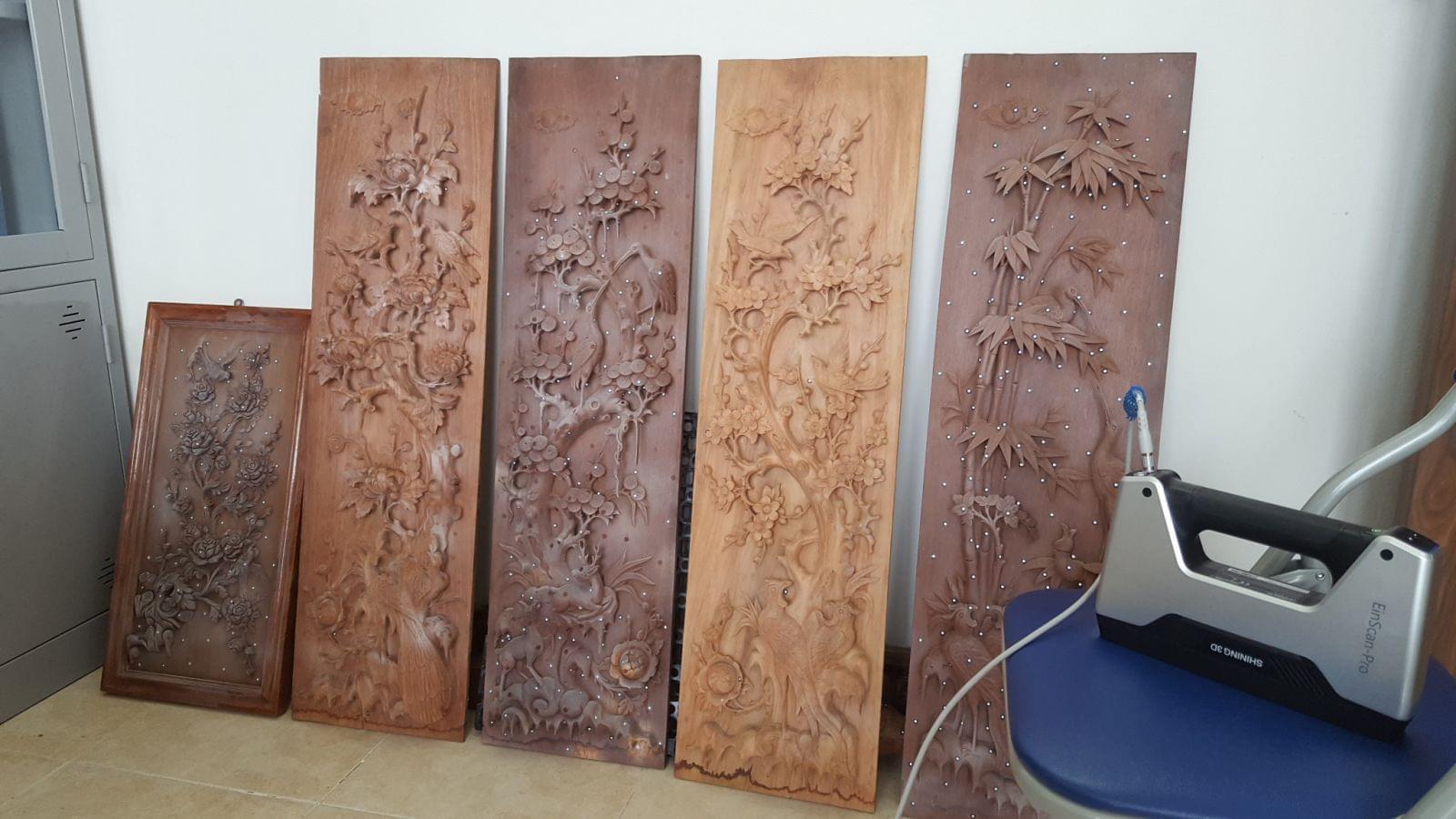 scan 3d tranh gỗ