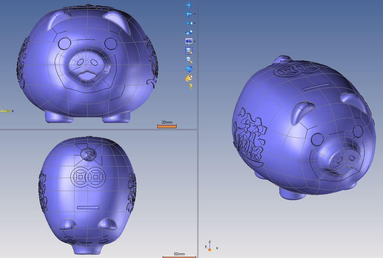 scan 3d lợn đất
