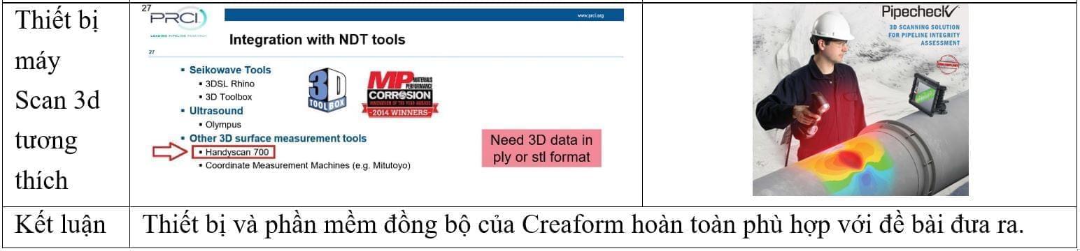 máy scan 3d kiểm tra mòn